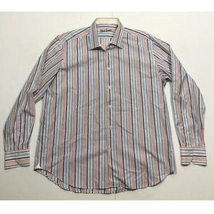 Robert Graham Mens Striped  Shirt Flip Cuff Sz XL